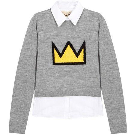 Alice + Olivia X Basquiat Nikia wool blend jumper and shirt