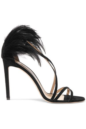 Jimmy Choo | Belissa 100 feather-trimmed suede sandals | NET-A-PORTER.COM