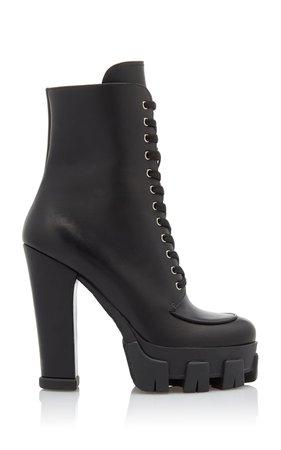 Lace-up Leather Platform Boots by Prada | Moda Operandi