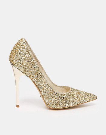 Buffalo | Buffalo Gold Glitter Heeled Pumps
