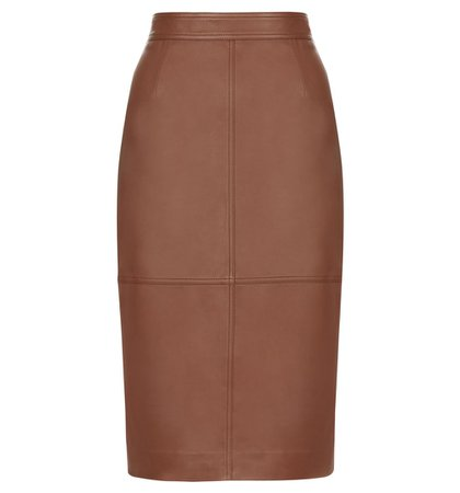 Brown Thea Leather Skirt | Smart Skirts | Skirts | Hobbs