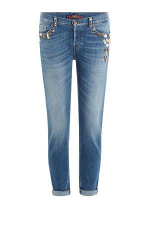 Embellished Cropped Jeans Gr. 30