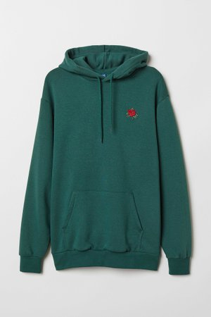Hooded top - Dark green/Rose - | H&M