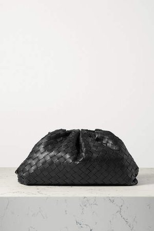 The Pouch Large Gathered Intrecciato Leather Clutch - Black
