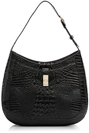 Johanna Croc Embossed Leather Shoulder Bag