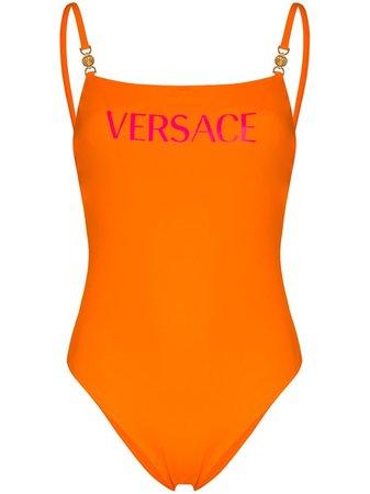 Versace Logo Print Swimsuit - Farfetch