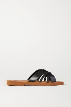 Woody Woven Leather Slides - Black