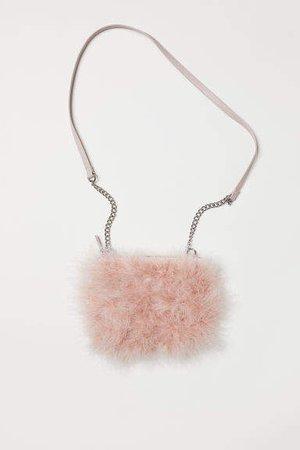 Shoulder Bag with Faux Fur - Pink