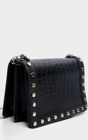 Black Studded Croc Cross Body Bag   PrettyLittleThing