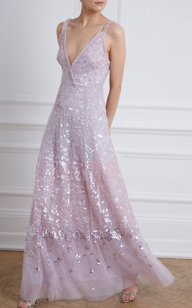 Ruffled Sequin-Embellished Tulle Gown By Needle & Thread   Moda Operandi