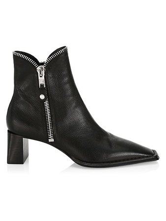 Alexander Wang Lane Square-Toe Zip Leather Ankle Boots | SaksFifthAvenue