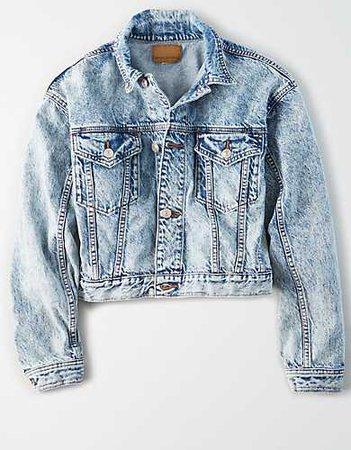 AE Acid Wash Cropped Denim Jacket blue