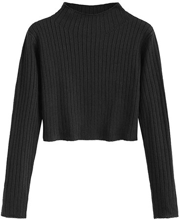 ZAFUL Women's Mock Neck Long Sleeve Ribbed Knit Pullover Crop Sweater (Black, M) at Amazon Women's Clothing store