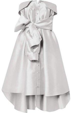 Bow-detailed Satin-twill Mini Dress - Platinum