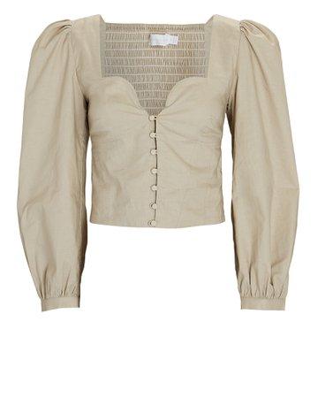 Jonathan Simkhai Mary Jane Smocked Oxford Blouse | INTERMIX®