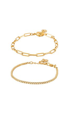 BaubleBar Ainsley Bracelet Set in Gold   REVOLVE