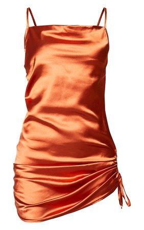 Rust Satin Strappy Bodycon Dress | PrettyLittleThing USA