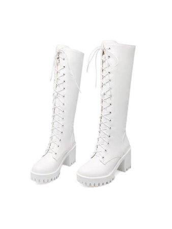 White lace up high top combat boots