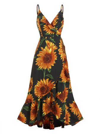[37% OFF] Sunflower Print Flounce Wrap Maxi Dress | Rosegal