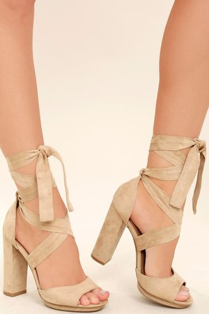 Lovely Natural Heels - Lace-Up Heels - Vegan Suede Heels