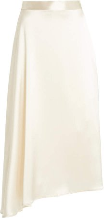Deveaux Merel Asymmetric Draped Satin Midi Skirt