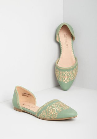 Restricted Winsome Wanderlust d'Orsay Flat Green | ModCloth