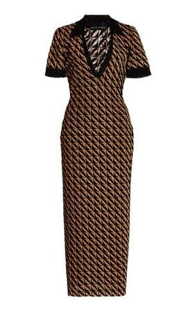 Collared Flocked Mesh Polo Midi Dress By David Koma   Moda Operandi