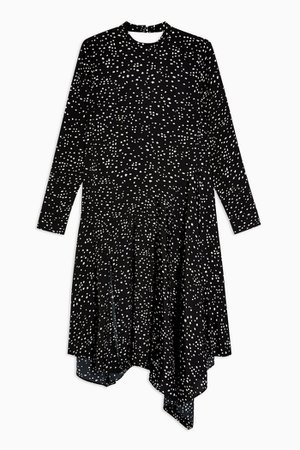 Black and White Spot Asymmetric Chuck On Dress | Topshop