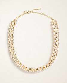 Rectangle Crystal Statement Necklace   Ann Taylor