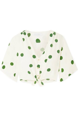 Faithfull The Brand | Boulevards knotted polka-dot crepe top | NET-A-PORTER.COM