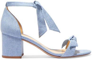 Clarita Bow-embellished Denim Sandals - Mid denim