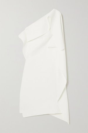 Ecstasy One-shoulder Draped Cady Dress - White