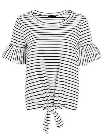 Romwe Women's Short Sleeve Tie Front Knot Casual Loose Fit Tee T-Shirt at Amazon Women's Clothing store:
