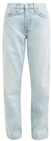 Low Slung Stone Washed Denim Jeans - Womens - Light Denim