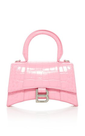 Hourglass Small Croc-Effect Leather Top Handle Bag by Balenciaga | Moda Operandi