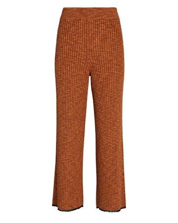 Proenza Schouler White Label Chambray Cropped Rib Knit Pants   INTERMIX®