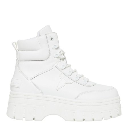 Laken White Laceup Boots | Women's Chunky Festival Platform Boots | Windsor Smith