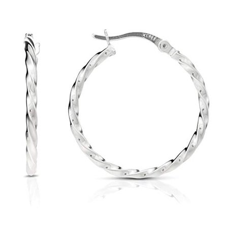 silver twist hoop earrings - Google Search