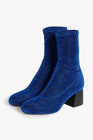 Stretch ankle boots - Electric blue - Shoes - Monki GB