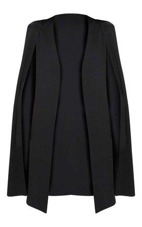 Black Longline Cape Blazer | Coats & Jackets | PrettyLittleThing