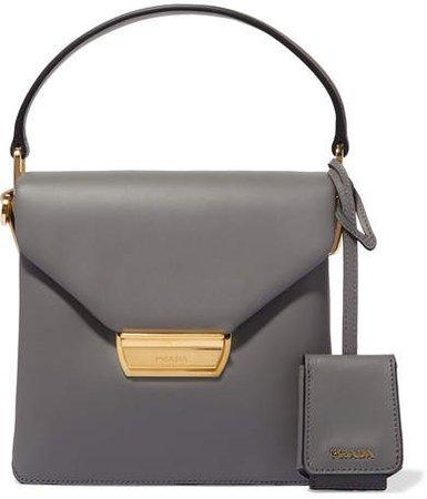 Ingrid Small Leather Shoulder Bag - Gray