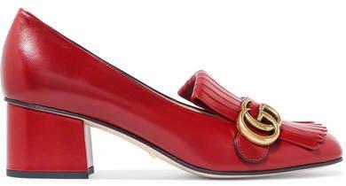 Marmont Fringed Logo-embellished Leather Pumps - Red