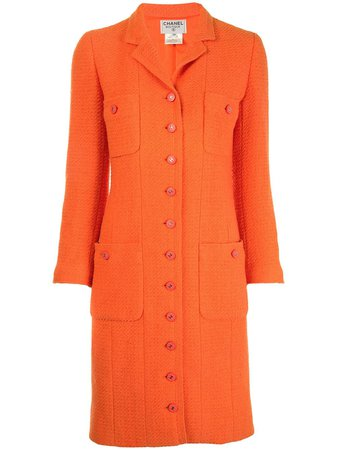 Chanel Pre-Owned 1996 slim-fit knee-length Coat - Farfetch