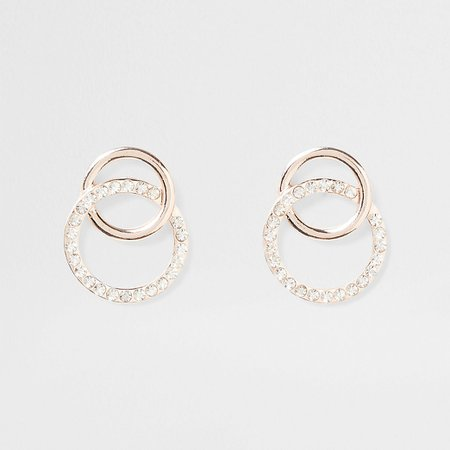 Gold tone Interlink dangle earring | River Island