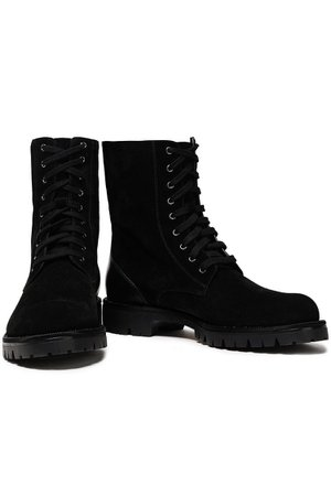 Black Lace-up embellished suede and leather ankle boots   Sale up to 70% off   THE OUTNET   RENE' CAOVILLA   THE OUTNET