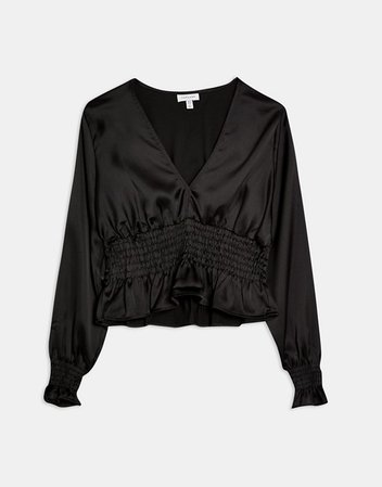 Topshop satin shirred waist blouse in black | ASOS