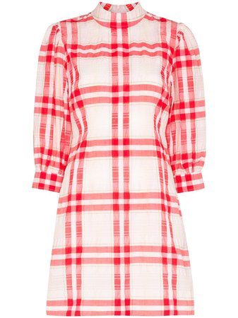 Shop red & pink GANNI check mini dress with Express Delivery - Farfetch