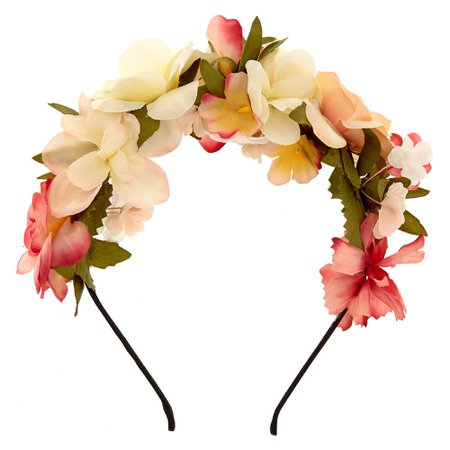 Ivory & Pink Flowers All Over Headband