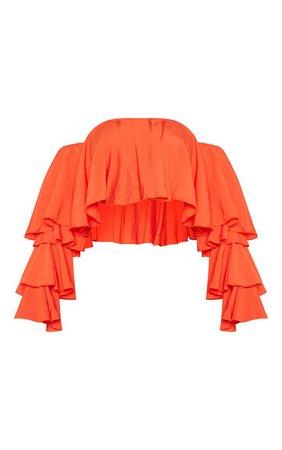 Bright Orange Woven Bardot Crop Top   Tops   PrettyLittleThing USA