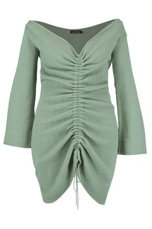 Plus Ruched Bardot Knitted Dress   Boohoo